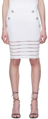 Balmain White Open Knit Skirt