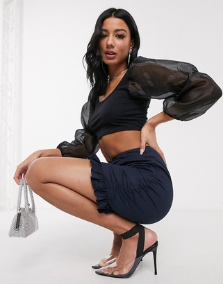 ASOS DESIGN ruched mini skirt with frill detail in navy