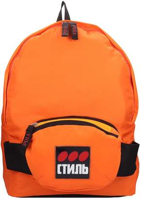 Heron Preston Fanny Backpack In Orange Cotton