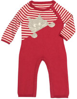 Lucky Jade Striped Kitty Cotton-Cashmere Coverall, Fuchsia, Size Newborn-12 Months