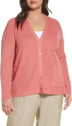 Eileen Fisher Organic Linen Blend Boyfriend Cardigan