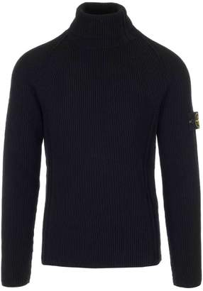Stone Island Ribbed Turtleneck Logo Patch Pullover