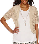 Alfred Dunner Short-Sleeve Layered Top With Necklace