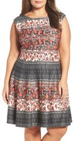 Gabby Skye Plus Size Women's Mix Print Scuba Fit & Flare Dress