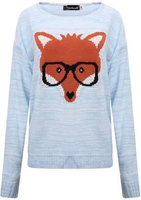 GirlzWalk Women's Ladies Fox Glasses Print Pullover Sweater Knitted Jumper Long Sleeve Sweater Top (Light Blue ML/UK 12-14)