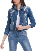 Blue Rhinestone Stars Denim Jacket