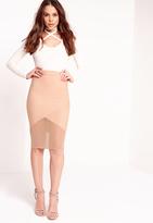 Missguided Bandage Mesh Hem Midi Skirt Nude