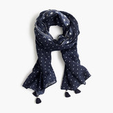 J.Crew Polka-dot scarf with tassels
