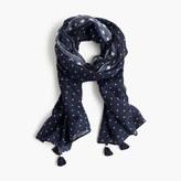 J.Crew Polka-dot scarf with tassels
