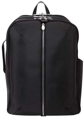 """McKlein Usa U Series, ENGLEWOOD , 1680D Ballistic Nylon with Leather Trim 17"""" Nylon, Triple Compartment, Carry-All, Laptop & Tablet Weekend Backpack, Black (78895)"""