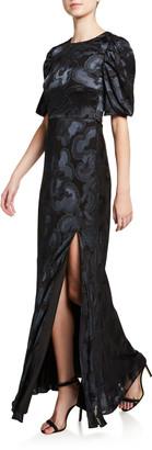 Saloni Annie B Short-Sleeve Floral Dress