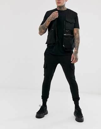 Asos Design DESIGN super skinny joggers with cargo pockets in black