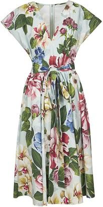 Dolce & Gabbana Floral Print Belted V-neck Dress