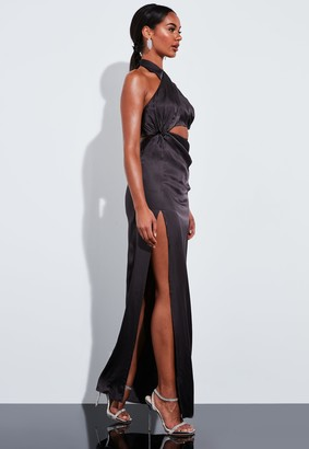 Missguided Grey Satin Wrap Cut Out Maxi Dress