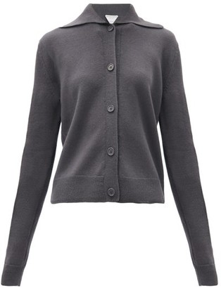 Bottega Veneta Spread-collar Wool Cardigan - Dark Grey