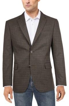 Tommy Hilfiger Men's Modern-Fit Charcoal/Brown Windowpane Plaid Sport Coat