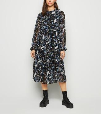 New Look JDY Floral High Neck Chiffon Midi Dress