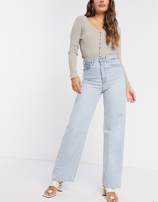 Levi's high loose straight leg jeans in bleach wash