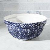 Crate & Barrel Spatterware Blue Mixing Bowl