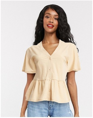 Only blouse with peplum hem in sand
