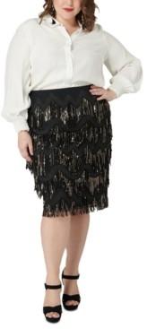 Marée Pour Toi Size Sequined Fringe Skirt