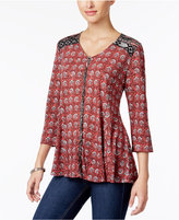Style&Co. Style & Co Petite Mixed-Print Swing Top, Only at Macy's
