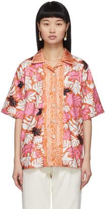 Marni Orange Retro Leaves Shirt
