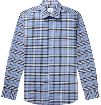 Burberry Slim-Fit Checked Stretch-Cotton Poplin Shirt