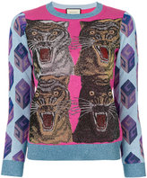 Gucci tiger intarsia lurex jumper - women - Polyamide/Viscose/Metallic Fibre - M