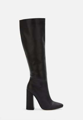 Missguided Black Faux Leather Calf Height Block Heel Boots