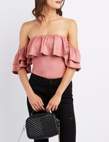 Charlotte Russe Faux Suede Ruffle Off-The-Shoulder Bodysuit