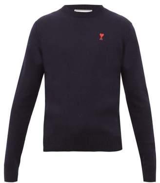Ami Logo Applique Merino Wool Sweater - Mens - Navy