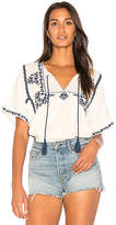 Ella Moss Marini Embroidered Top in White. - size M (also in S,XS)