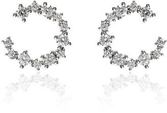 Suzanne Kalan 18kt White Gold Baguette Diamond Hoop Earrings