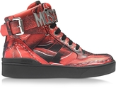 Moschino Red Leather High Top Sneaker