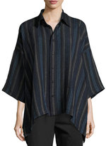 eskandar Striped Linen Short-Sleeve Shirt, Indigo