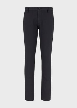 Emporio Armani Chino Trousers In Micro-Jacquard Fabric