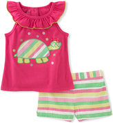 Kids Headquarters Fuchsia Ruffle Tank & Stripe Shorts - Toddler & Girls