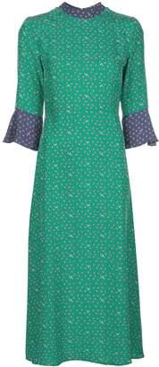 HVN Ashley silk bell sleeve dress