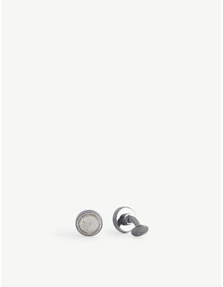 Tateossian Coin-motif gunmetal-toned sterling silver cufflinks