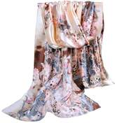 Alysee Women Oil Painting Plum Blossom Print Satin Long Scarf Shawl Wrap Color