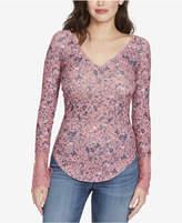 William Rast Clementine Textured Lace-Cuff T-Shirt
