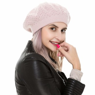 REEMONDE Womens Beret Hat Wool Knitted Cap with Sparkling Rhinestones Solid Color Stretchy Beanie Tam Hats - pink - One Size