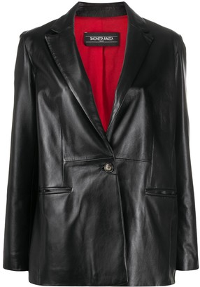Simonetta Ravizza Single-Button Leather Blazer