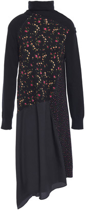 McQ Asymmetric Stretch-knit, Floral-print Cotton-blend And Crepe De Chine Dress