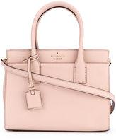 Kate Spade logo plaque shoulder bag - women - Leather/Cotton - One Size
