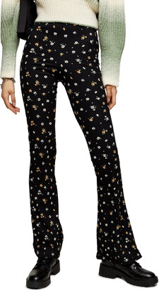 Topshop Ditsy Floral Print Flare Trousers