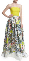 Monique Lhuillier Strapless Lace & Floral-Print Gown, Yellow