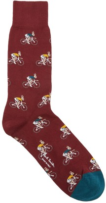Paul Smith Burgundy Intarsia Cotton-blend Socks