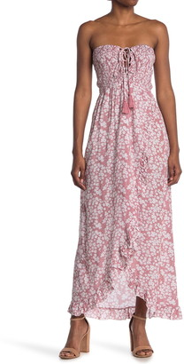 Tiare Hawaii Fynn Lace-Up Strapless High/Low Maxi Dress